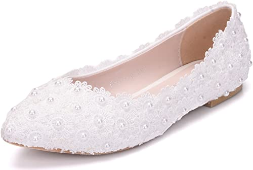 Amazon.com | Melesh White Lace Flower Pearls Bride Flat Shoes for .