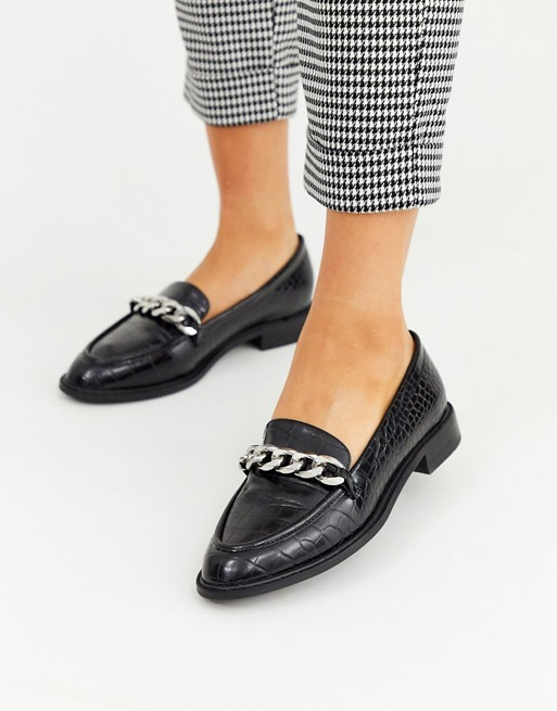 ASOS DESIGN Mercury chain loafer flat shoes in black   AS