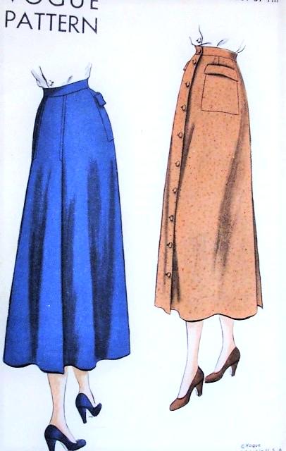 1940s Front Button Skirt Pattern VOGUE 6492 Flattering Slightly .