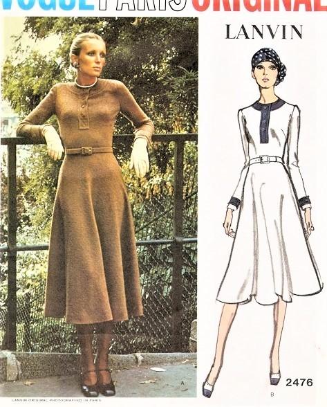 1970s LANVIN Figure Flattering Day or After 5 Dress Pattern VOGUE .