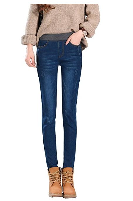 Women's Plus Size Fleece Lined Jeans High Waist Winter Slim Fit .