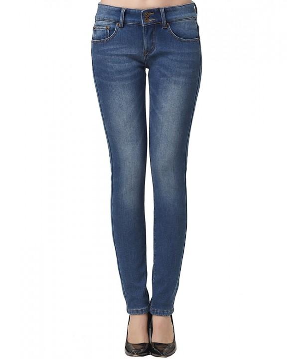 Women's Slim Fit Fleece Lined Jeans - Blue 4 - CS12NH9FM