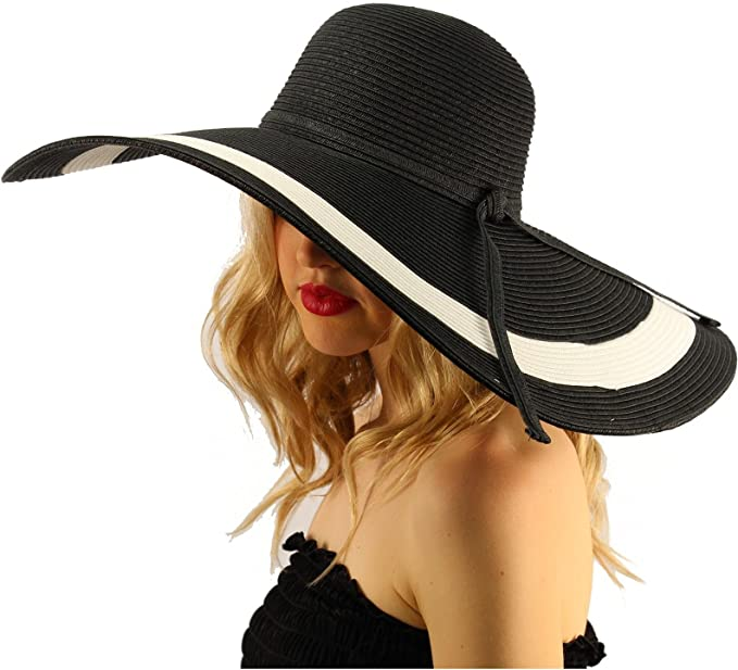 "Summer Elegant Derby Big Super Wide Brim 8"" Brim Floppy Sun Beach ."