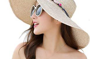 Adrinfly Women Floppy Sun Hat Travel Packable Wide Brim Adjustable .