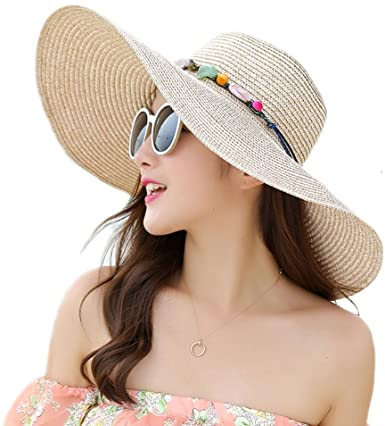 Adrinfly Women Floppy Sun Hat Travel Packable Wide Brim Adjustable .