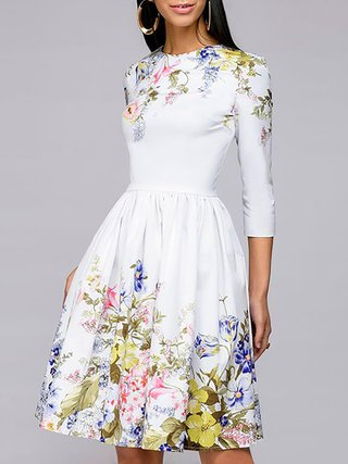 Stylewe Prom Dresses Floral Dresses Cocktail A-Line Crew Neck .