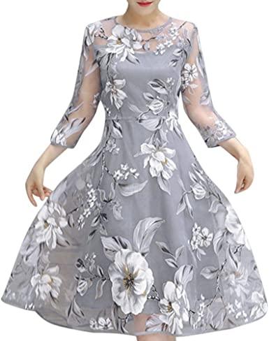 TLOOWY Women Elegant Floral Print 3/4 Sleeve Organza A-Line Midi .