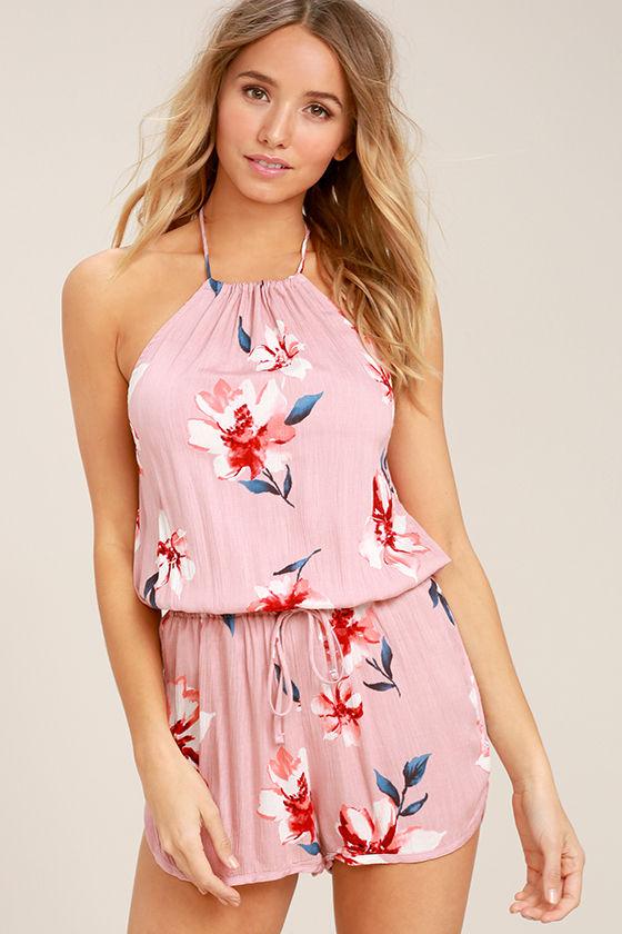 Cute Blush Pink Romper - Floral Print Romper - Halter Romper - $38.