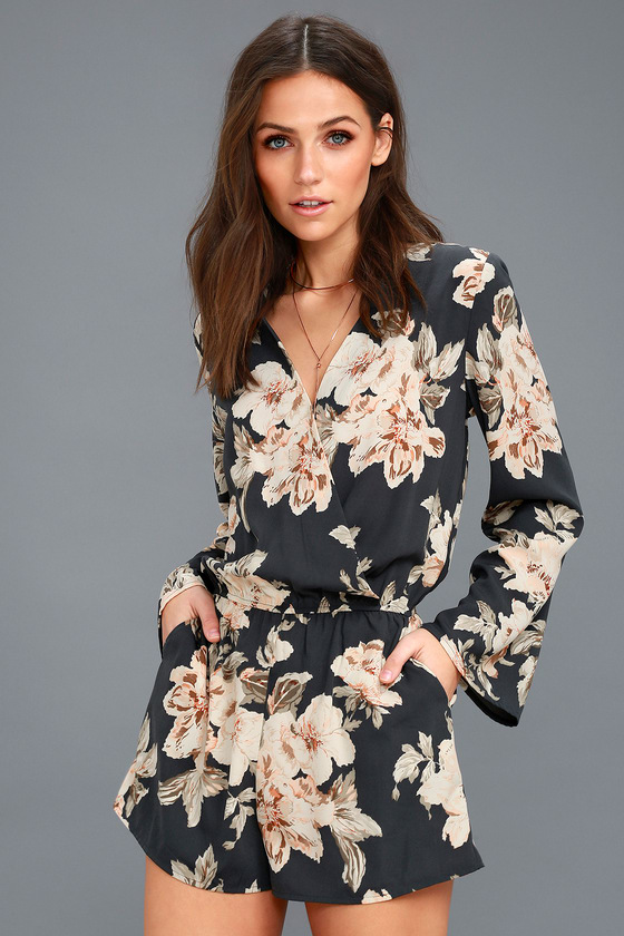 Washed Navy Blue Romper - Floral Print Long Sleeve Romp