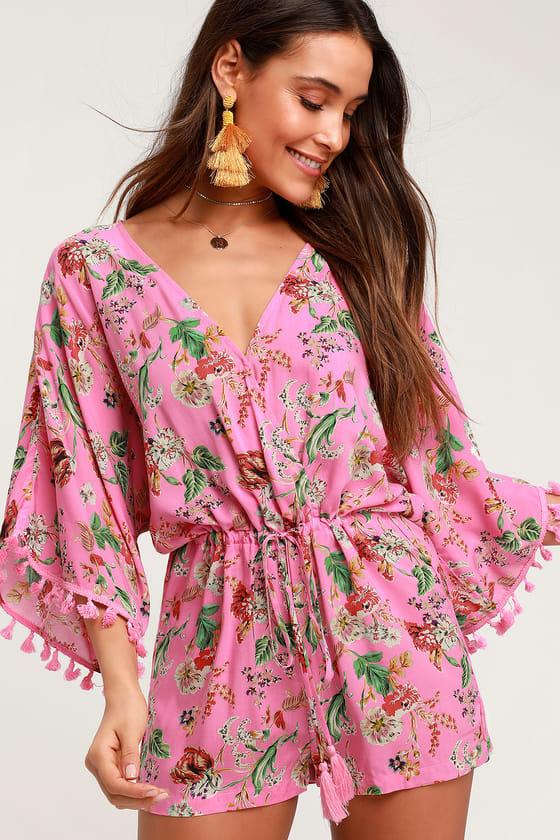 Cute Pink Floral Print Romper - Kimono Sleeve Romper - Surpli