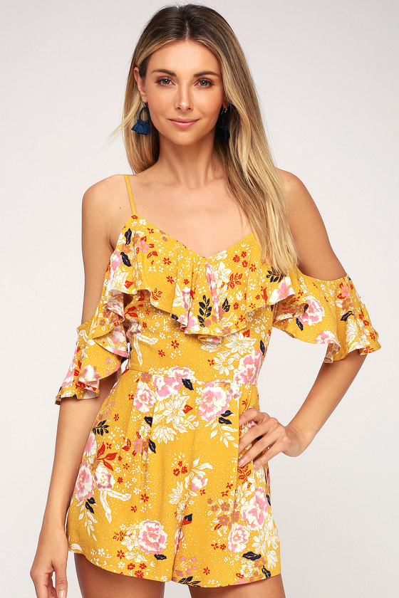 Mustard Yellow Floral Print Romper - Off-the-Shoulder Romp