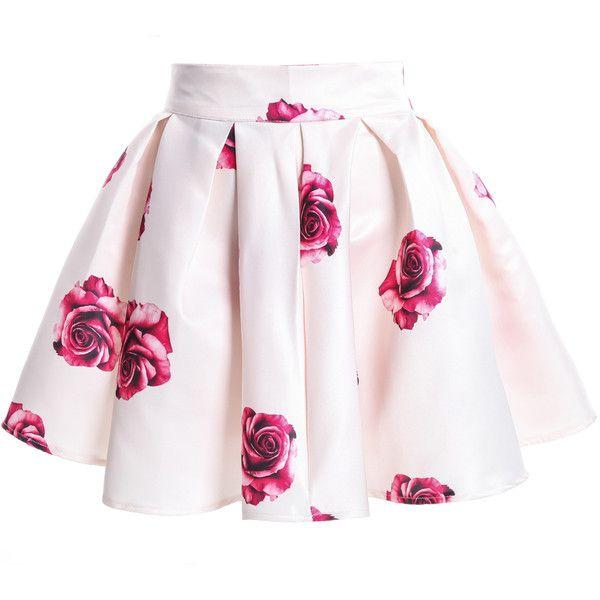 Rose Print Flare White Skirt (64 MYR) ❤ liked on Polyvore .