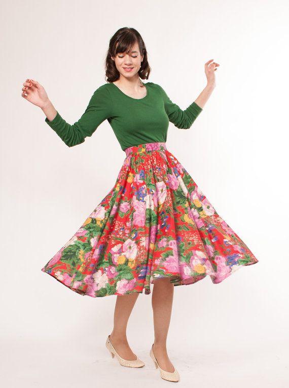Vintage Floral Skirt 80s Circle Skirt | Vintage floral skirt .