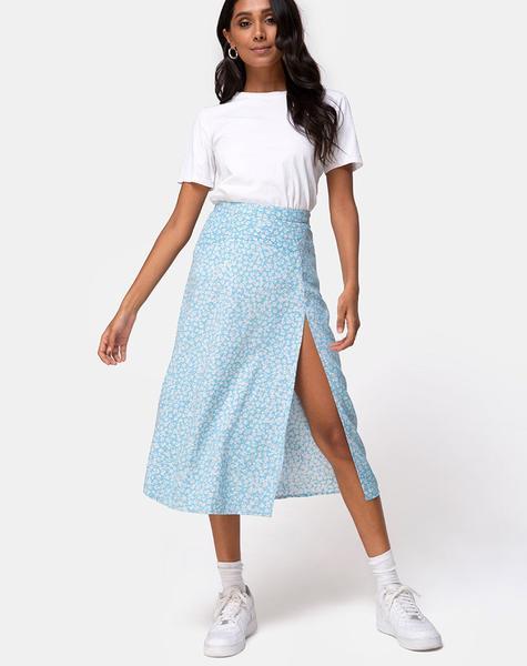 Midi Blue Floral Skirt | Saika – motelrocks-com-