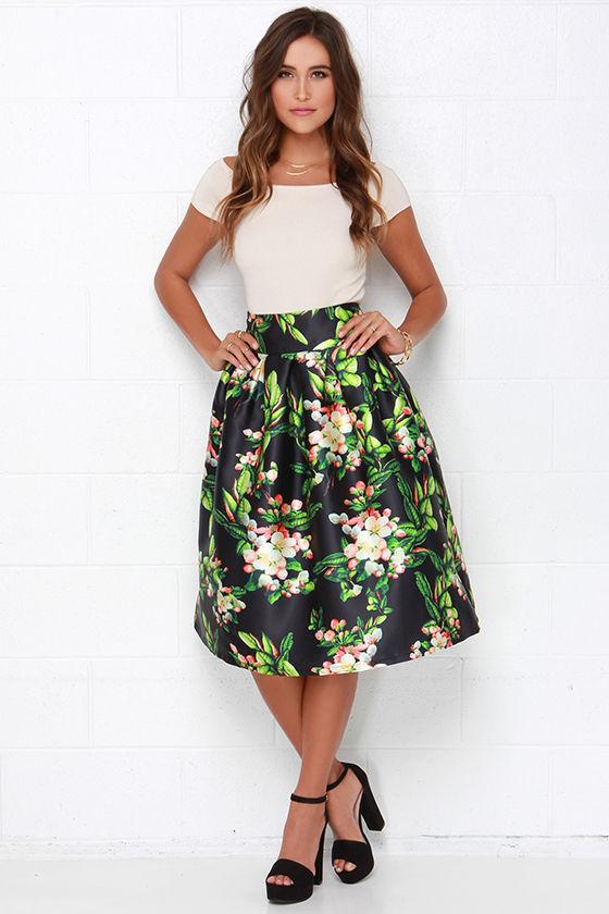 Lovely Black Skirt - Floral Print Skirt - Pleated Skirt - $84.