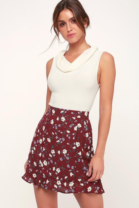 Cute Burgundy Mini Skirt - Floral Mini Skirt - Ruffle Mini Ski