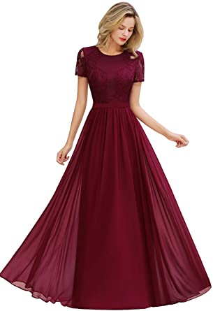 MisShow Women's Lace Floral Long Prom Maxi Dress Short Sleeve .