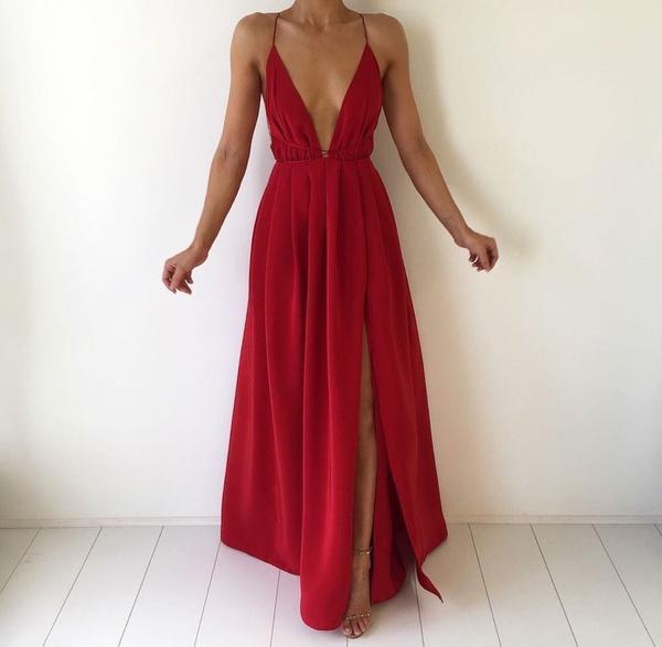 Sexy Deep V Neck Prom Dress,Backless Long Maxi Dress,Chiffon .