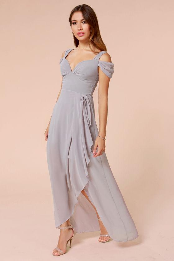 Pretty Grey Dress - Maxi Dress - Formal Dress - $65.