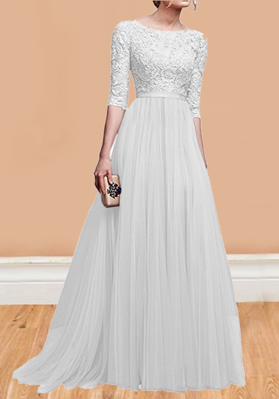 White Patchwork Lace Pleated Round Neck Elbow Sleeve Wedding Gowns .