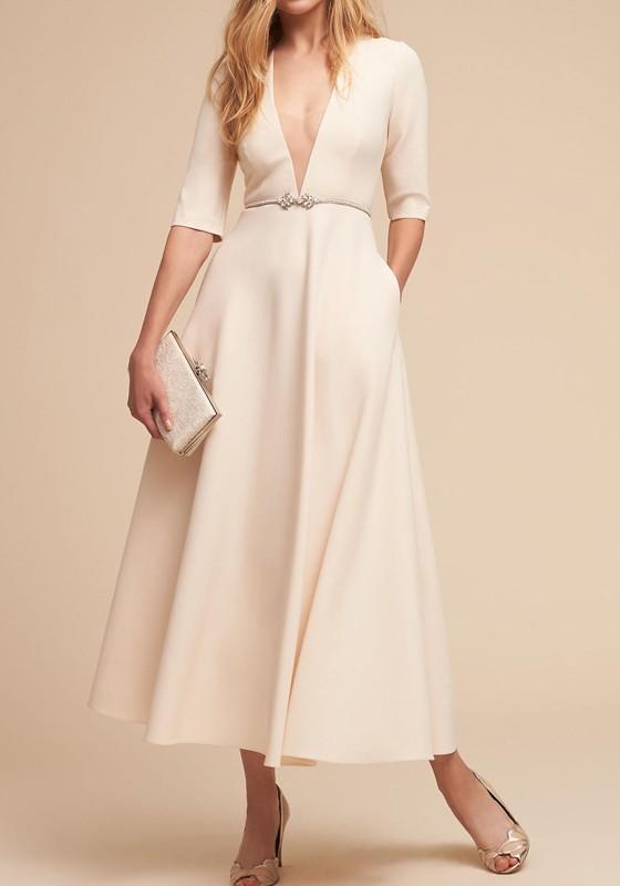 White Pockets Plus Size Half Sleeve Deep V-neck Banquet Formal .