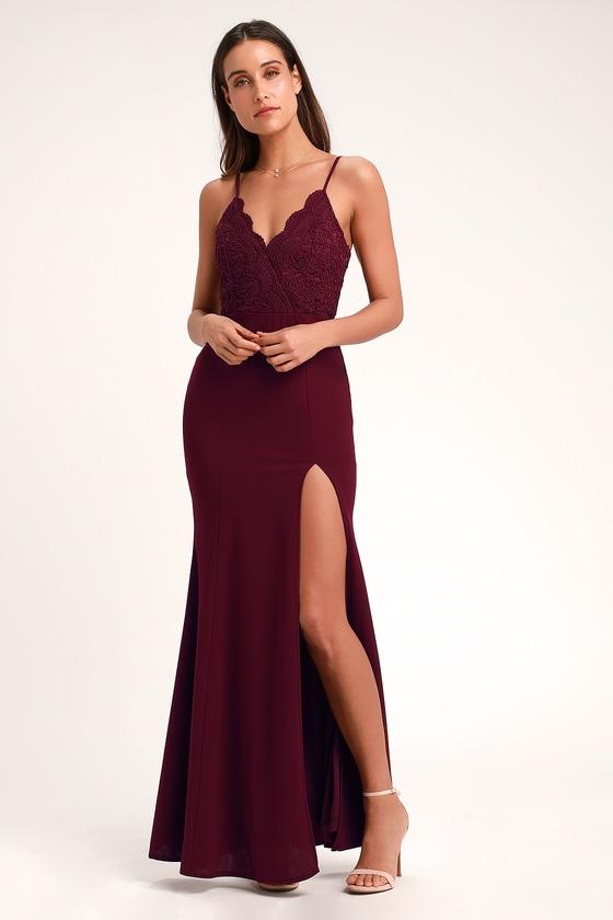 Lovely Burgundy Maxi Dress - Mermaid Maxi Dress - Formal Dre