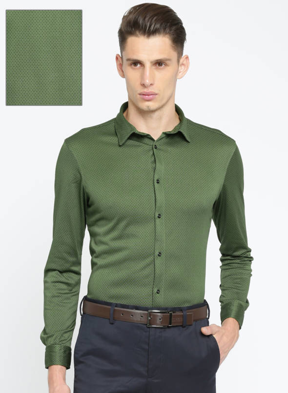 Buy Arrow New York Olive Green Super Slim Fit Printed Formal Shirt .