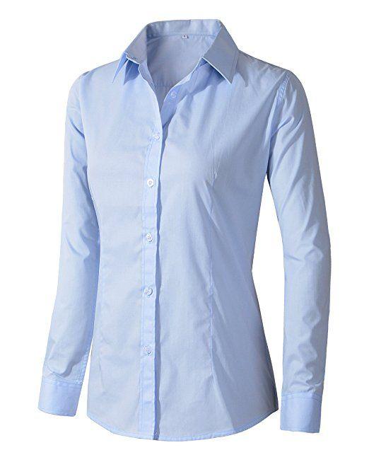 Benibos Women's Formal Work Wear White Simple Shirt (XS, Light .