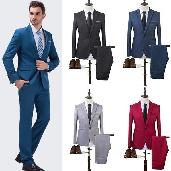Wedding Men's Suits Formal Tuxedos Blazer Slim Fit Suit | Shopee .