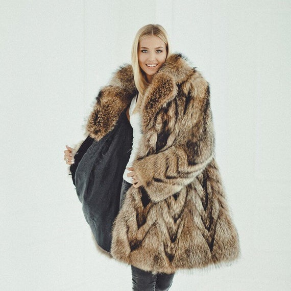 Raccoon Fur Coat for women Long Winter Jacket Vintage Fur | Et
