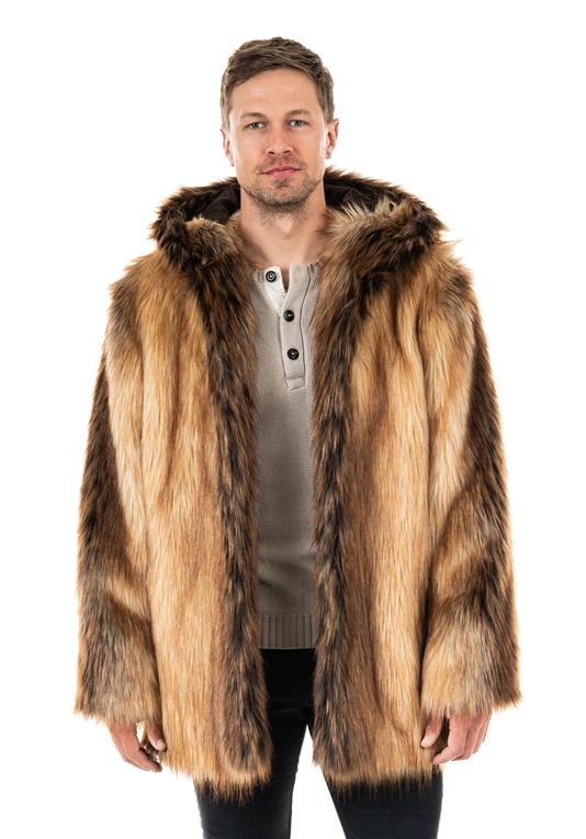 Men's Red Fox Hooded Faux Fur Coat | Mens Faux Fur Coa