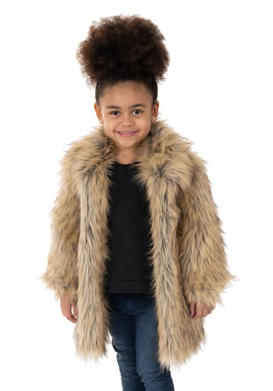 Kid's Tipped Fox Faux Fur Coat | Girls Faux Fur Coa