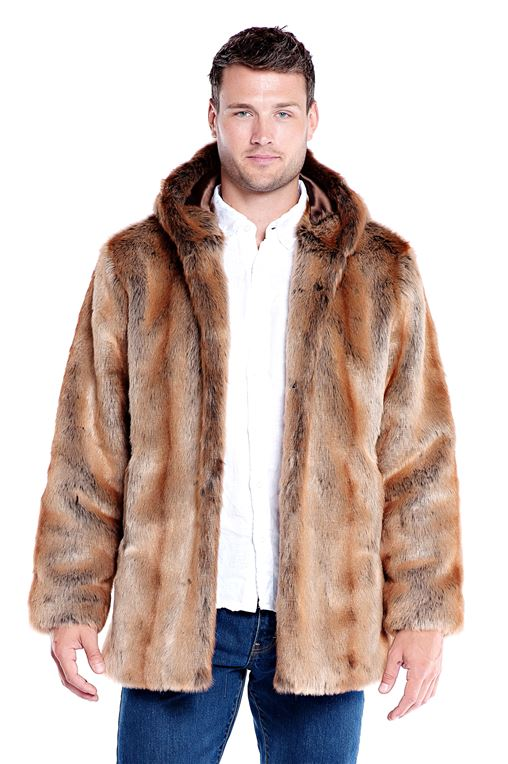 Men's Coyote Hooded Faux Fur Jacket | Mens Faux Fur Hooded Jackets .