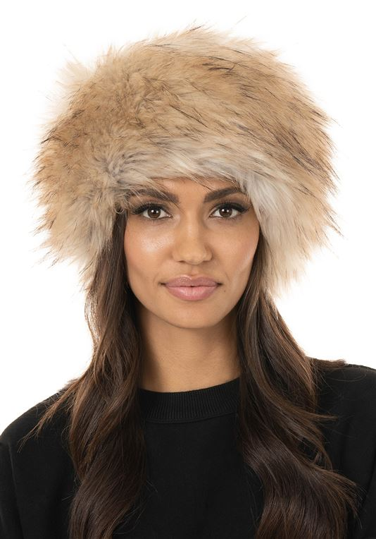 Taupe Fox Faux Fur Russian-Style Hat| Womens Faux Fur Ha