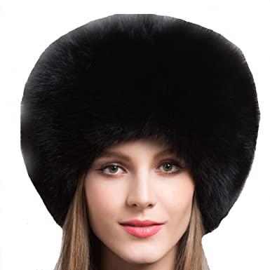 Valpeak Real Fur Hats for Women Winter Russian Fox Fur Hat Fluffy .