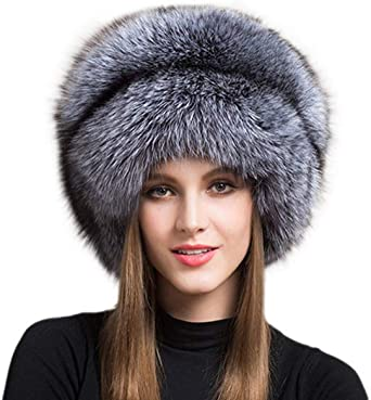 ZIYIUI Real Fox Fur Hat for Women with Tail Winter Mongolian Hats .