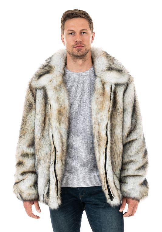 Men's Yukon Wolf Faux Fur Bomber Jacket   Fabulous-Fu