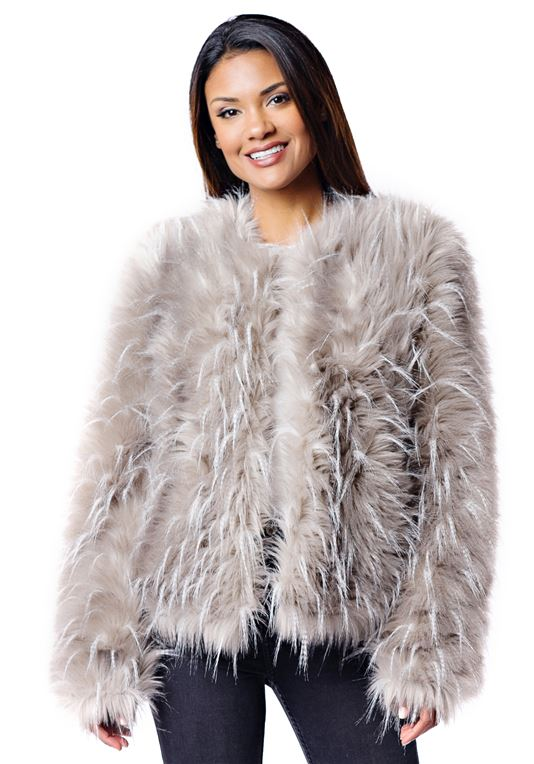 Ostrich Faux Fur Jacket | Womens Faux Fur Jacke