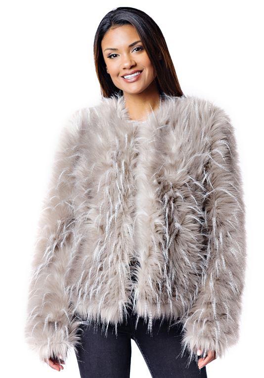 Ostrich Faux Fur Jacket   Womens Faux Fur Jacke