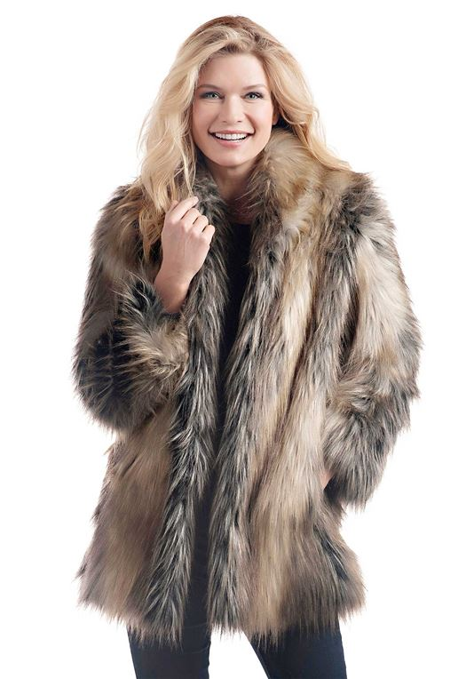 Pieced Fox Shawl Collar Faux Fur Jacket | Womens Faux Fur Jacke
