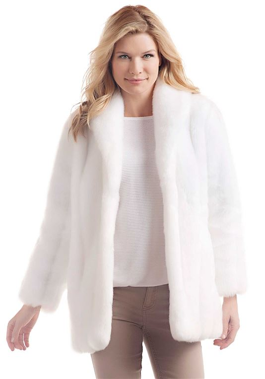 White Mink Classic Faux Fur Jacket   Womens Faux Fur Jacke
