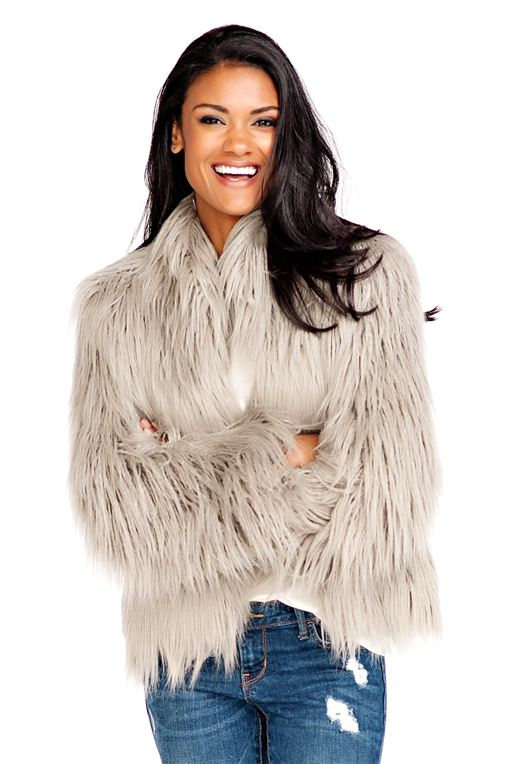 Grey Tibetan Lamb Fashionista Faux Fur Jacket   Womens Faux Fur .