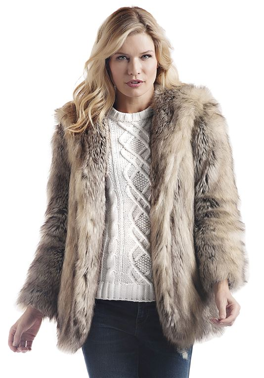 Grey Fox Hooded Faux Fur Jacket | Womens Faux Fur Jacke