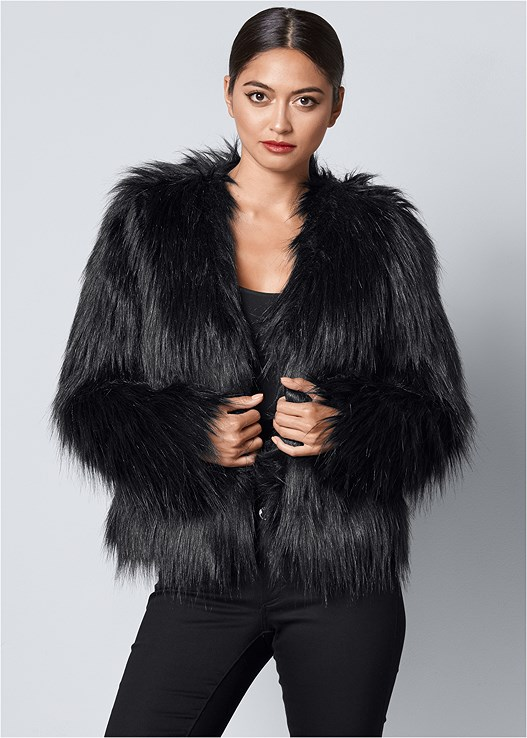 Faux Fur Jacket in Black | VEN