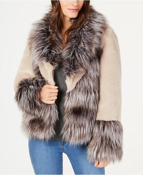 INC International Concepts INC Mixed-Materials Faux-Fur Jacket .