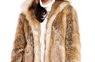Gold Fox Hooded Faux Fur Jacket | Womens Faux Fur Jacke