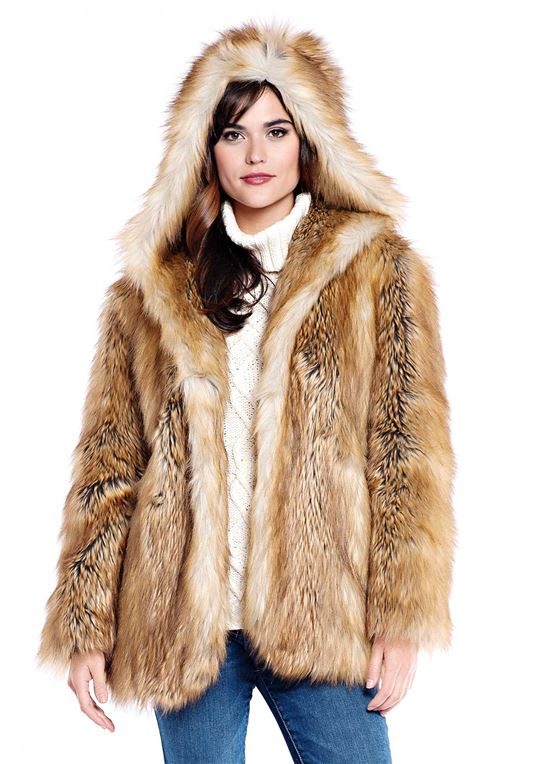 Gold Fox Hooded Faux Fur Jacket | Womens Faux Fur Jacke