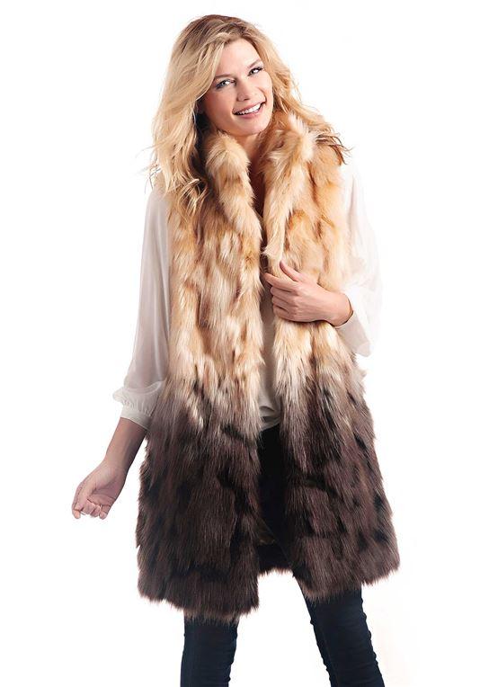 Dipped Fox Faux Fur Vest | Womens Faux Fur Ves