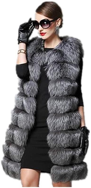 Women Faux Fox Coat Women Winter Slims Super Long Fake Fur Vests .