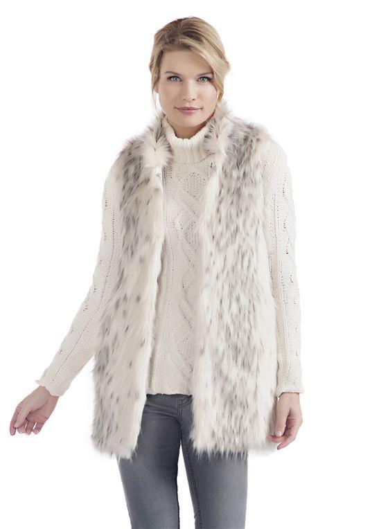 Arctic Leopard Every-Wear Faux Fur Vest | Womens Faux Fur Ves